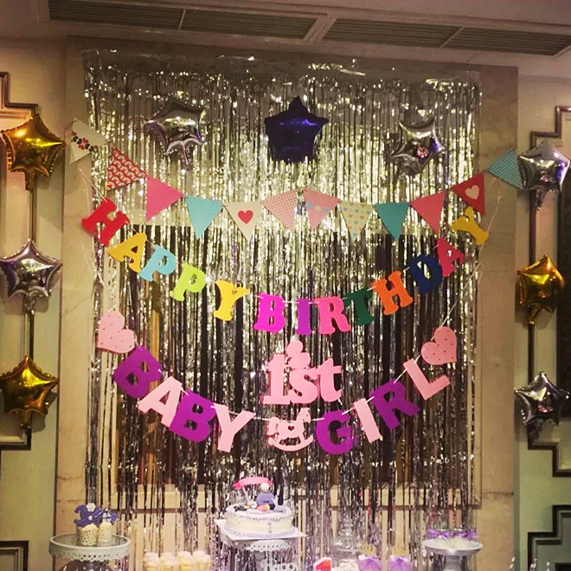 Garage Decorated For Party: Hot Metallic Foil Fringe Door Rain Curtains Party Wedding