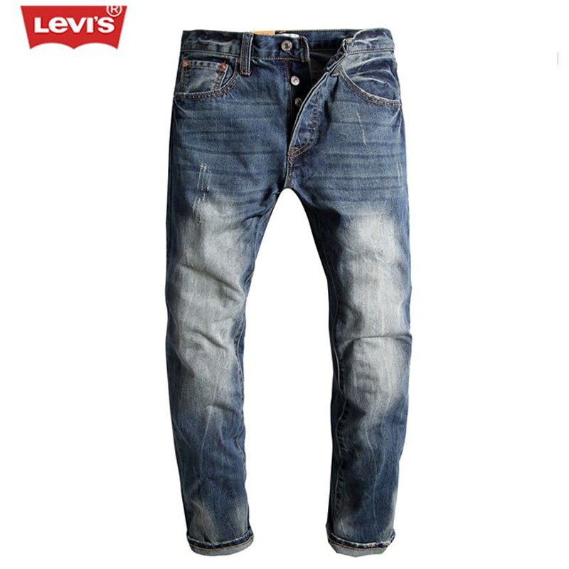 Levi's 501 Series Men Jeans  Scratched Ripped Pleated Straight Trousers Women Casual Vintage Classic Biker Denim Long Pants 1822 dsel brand men jeans denim white stripe jeans mens pants buttons blue color fashion street biker jeans men straight ripped jeans