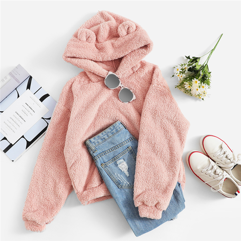 SHEIN Preppy Lovely With Bears Ears Solid Teddy Hoodie Pullovers Sweatshirt Autumn Women Campus Casual Sweatshirts 4
