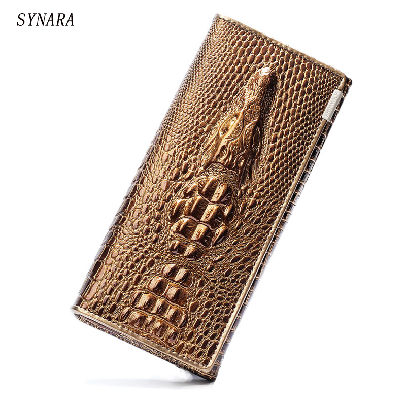 Black Friday Fashion Genuine Leather Women Clutch Wallet 3 Fold Crocodile Head Womans Purse Carteras Cellphone Bag