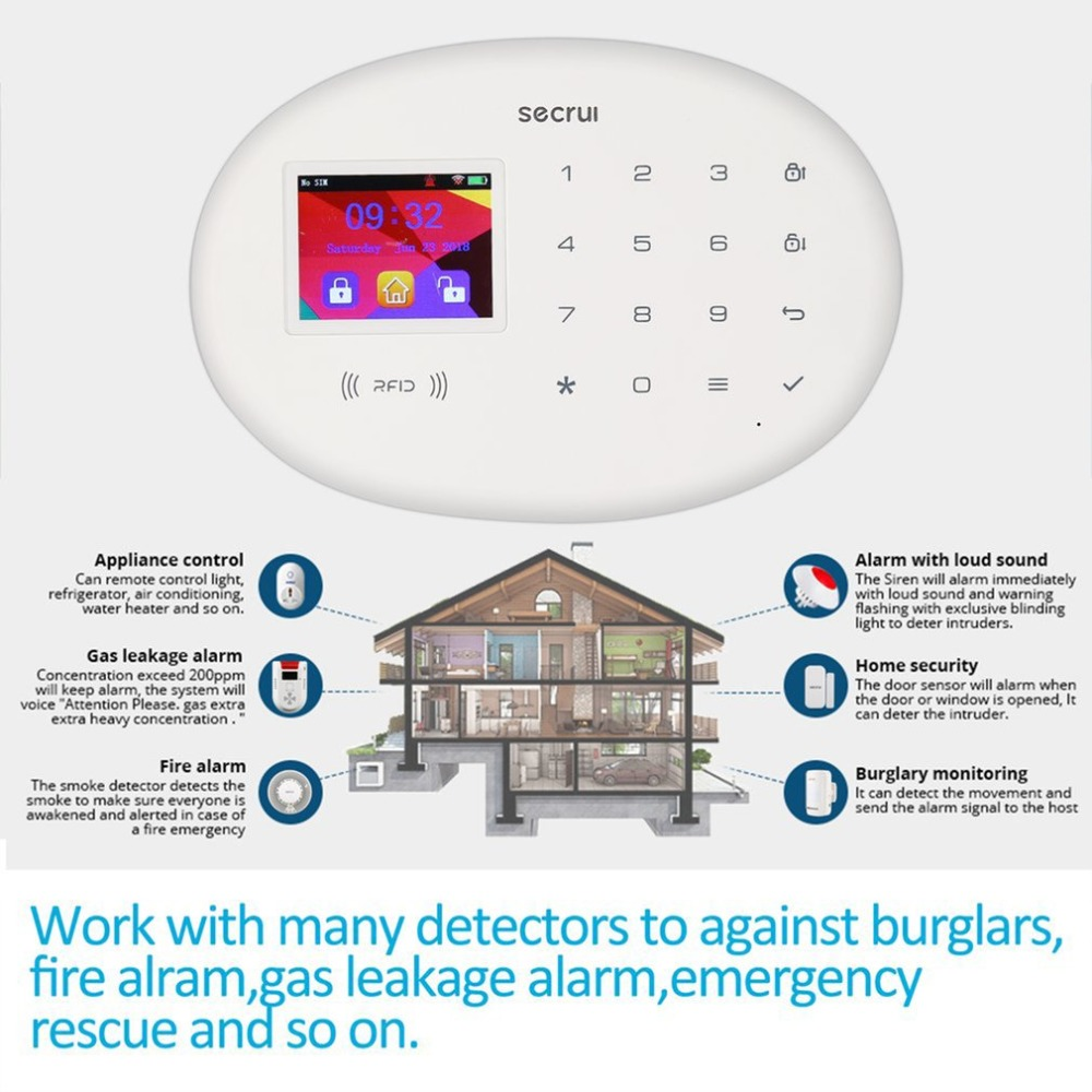 Color Screen GSM Alarm System Wireless Detector Digital Dual Core Technology Infrared Detector Import Sensors