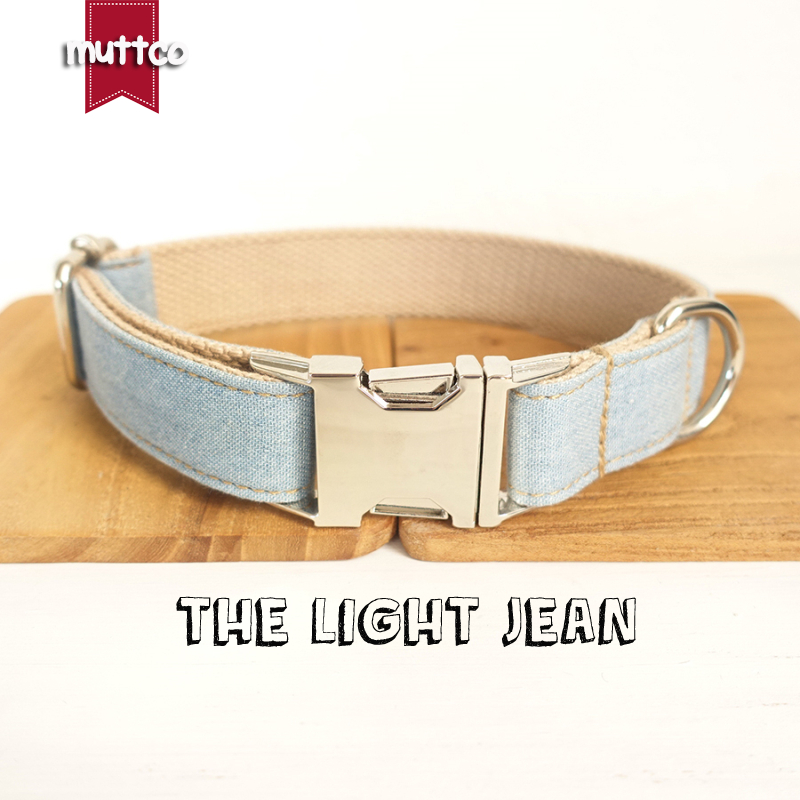 10pcs/lot MUTTCO wholesale self-design dog collar THE LIGHT JEAN handmade blue and white 5 sizes dog collars and leashes UDC034