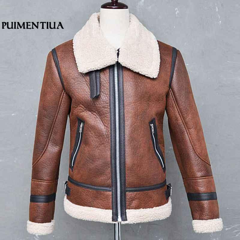 Puimentiua 男性フェイクレザージッパージャケット冬厚く暖かい生き抜く男性の毛皮の襟防風ジャケットオムパイロットコート 2018 3XL