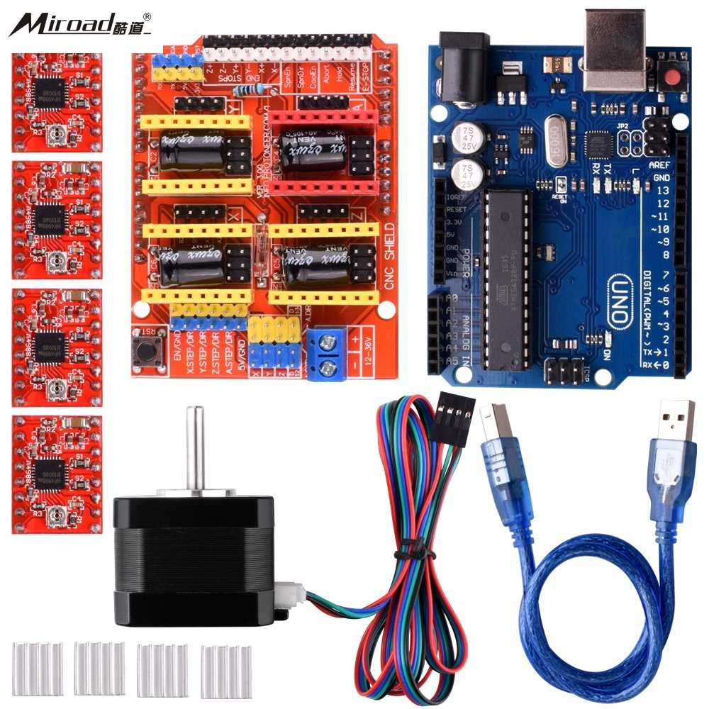 Miroad for Arduino CNC Kit with Stepping Motor,CNC Shield V3.0 + UNO R3 + 4 PCS A4988 Driver + Nema 17 Stepping Motor QD06C cnc shield expansion board v3 0 4pcs a4988 drv8825 stepper motor driver with heatsink with uno r3 board for arduino kits