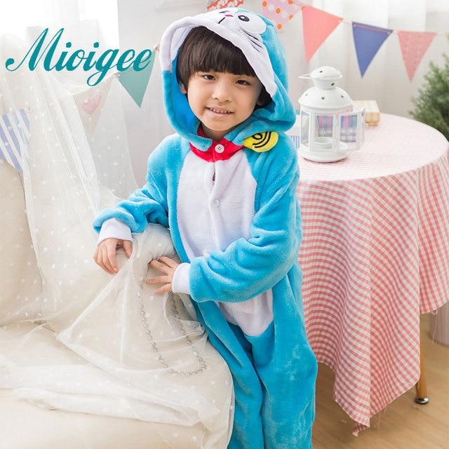Mioigee New Children s Pajamas Kigurumi Fashion Flannel Keep Warm Cute Blue Boys  Girls Pajamas Unisex Sleepers For 2-10years old 7f9817bb6