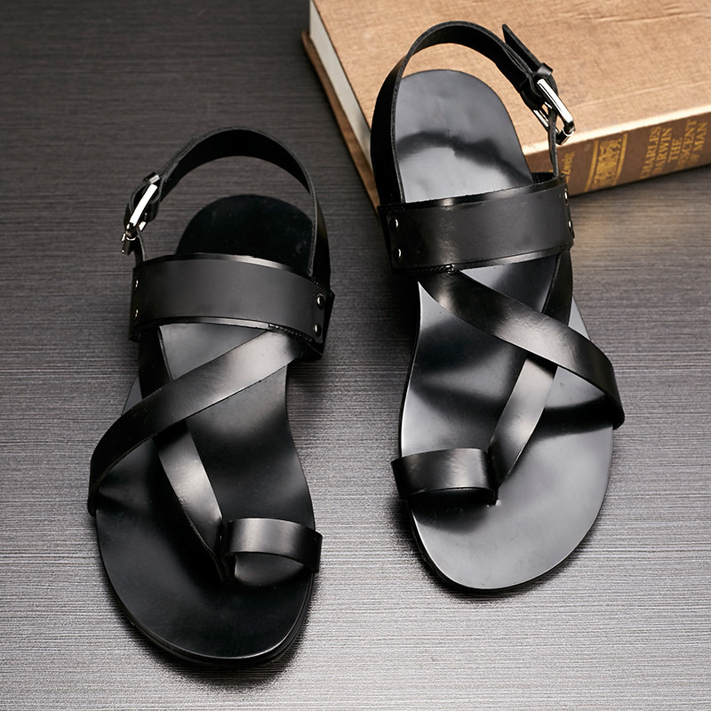 6f4be43d8f6 US 6 10 Men Ankle Strap Genuine Leather T Strap Sandals Casual Top Thongs  Summer Beach Shoes Mens Gladiator Sandals-in Men s Sandals from Shoes on ...