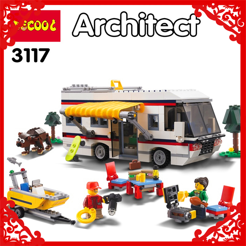 DECOOL 3117 City Creator 3In1 Vacation Getaways Building Block 613Pcs DIY Educational  Toys For Children Compatible Legoe decool 3341 technic city series cruiser suv car building block 589pcs diy educational toys for children compatible legoe
