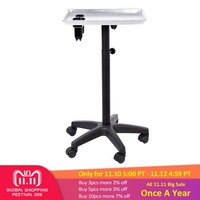 Multi functional Aluminium Hair Salon Instrument Tray Adjustable Height Trolley Beauty Tray Tools Silver Hairdressing Equipment
