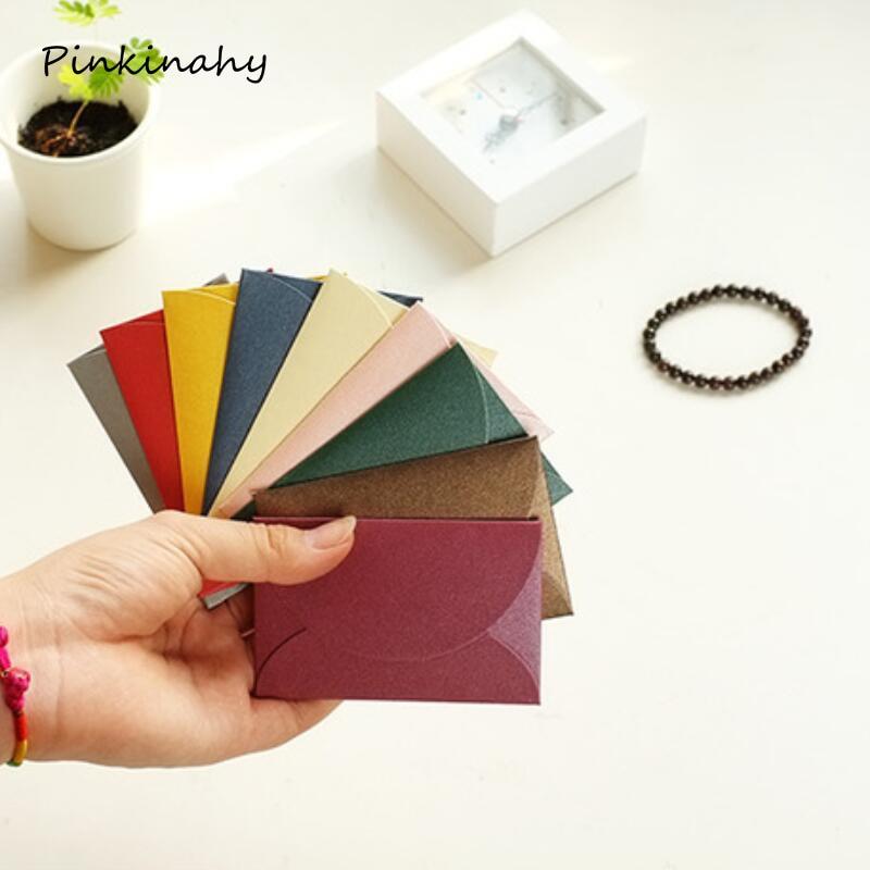 50 шт./лот романтические красочные маленькие цветные жемчужные пустые мини-конверты бумажные конверты для свадебных приглашений позолоченн...