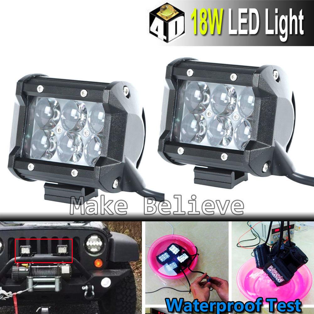 2шт течение dc10-30В 4-дюймовый 18W светодиодные противотуманные лампы свет работы с 4D объектив рыбий глаз для внедорожник ATV utv вел управляя света Трактор грузовик