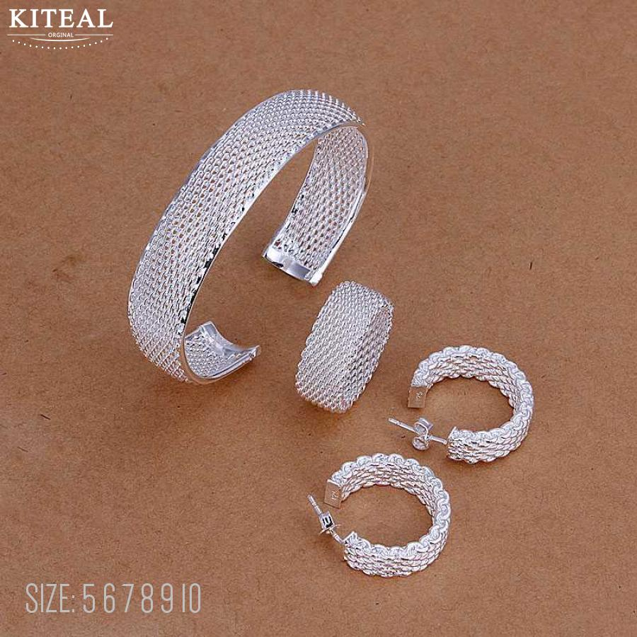Earring-Ring Jewelry-Sets Bangle Necklace Bracelet Silver-Plated-Net SMTS249 Top-Quality