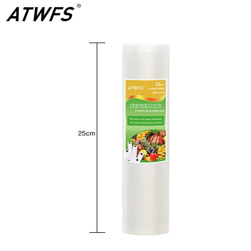 Atwfs высокомощный вакуумный упаковщик еды 25 см x 500 см, пакеты для хранения еды