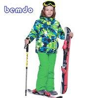 Зимний теплый флисовый лыжный костюм PHIBEE непромокаемая горнолыжная куртка + комбинезон для мальчиков детская одежда для катания на сноубор