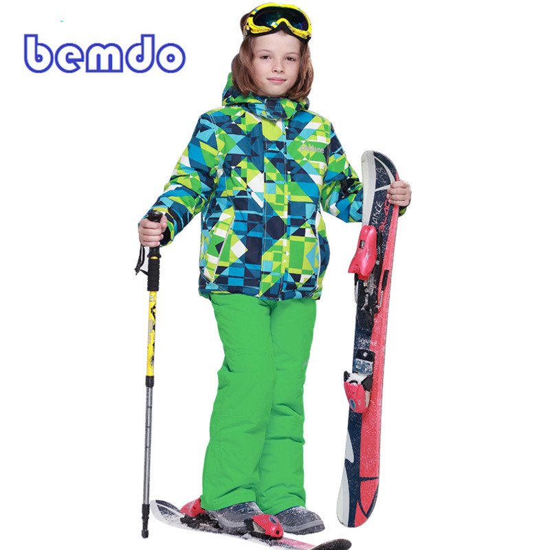 PHIBEE Winter Fleece Warm Ski Suit Boys Waterproof Mountain Skiing Jacket Coat + Bib Pan ...