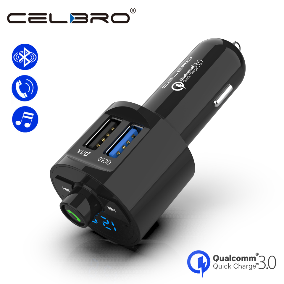 Quick Charge 3.0 Car Charger QC 3.0 FM Transmitter Bluetooth Car Handsfree Charger Dual USB Car MP3 Music Player Auto Charger Зарядное устройство