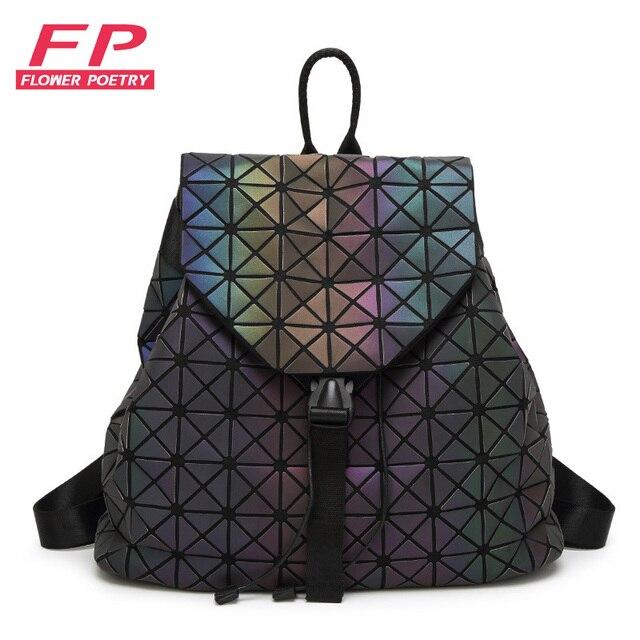 daa0588556d1 2019 New Bao Luminous Backpacks Women Fashion Girl Daily Backpack Folding Bags  Girls Geometry School Backpack