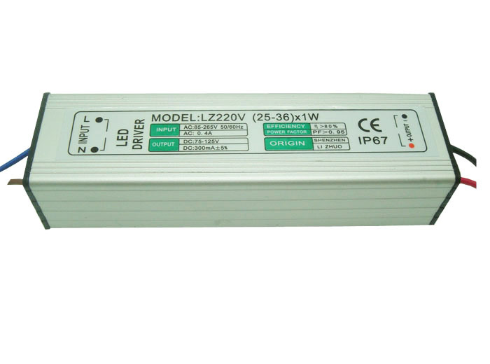 1PCS 25X1W 26X1W 28X1W 30X1W 36X1W (25-36) x 1W High Power LEDWaterproof Constant Current Driver AC170-265V to DC75-130V 300mA 90w led driver dc40v 2 7a high power led driver for flood light street light ip65 constant current drive power supply