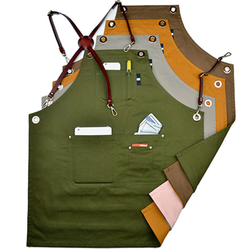 Double Sides Cotton Bib Apron w Leather X Strap Barber Barista Florist Cafe Bar Chef Uniform