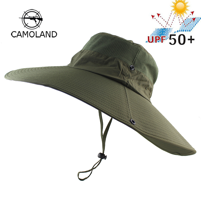 Long Wide Brim Bucket Hat Breathable Quick Dry Boonie Hat Summer UV Protection