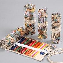 Cute Cat School Pencil Case Canvas Kawaii Cartoon Penalty Pencilcase 36/48/72 Holes Pen Bag Kids Boys Girls цена и фото