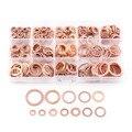 280 pçs profissional sortidas cobre arruela gaxeta conjunto anel liso selo sortimento kit M5-M20 com caixa para acessórios de ferragem