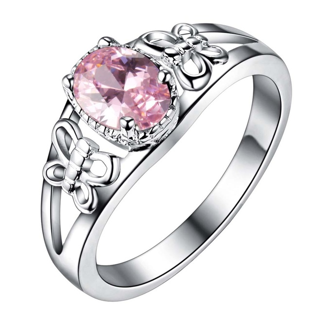 elegant pink zircon Wholesale 925 jewelry silver plated ring ,fashion jewelry Ri