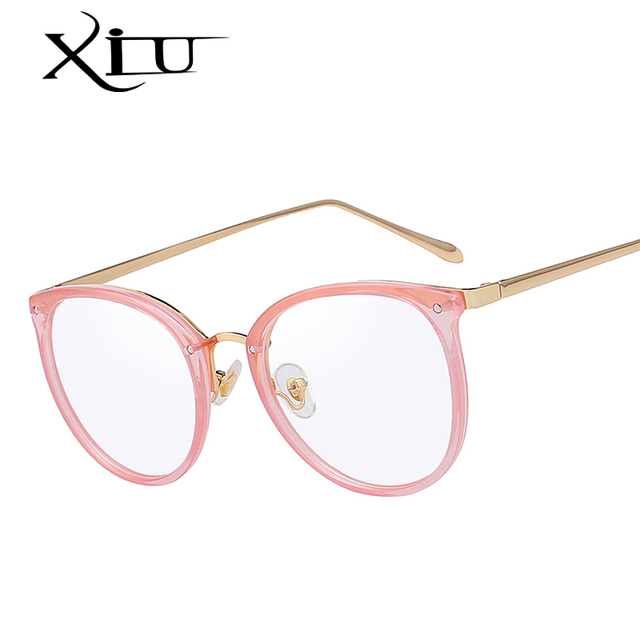 4da79f4ec7a6 XIU High Quality Frame Fashion Glasses Women Eyeglasses frame Vintage Round Clear  Lens Glasses Brand Designer