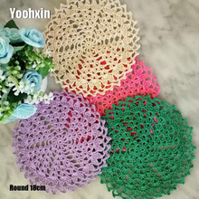 TOP Round Handmade Lace cotton table place mat pan pad Cloth crochet placemat cup mug wedding tea coffee coaster doily kitchen