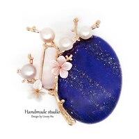 La MaxZa New Design Brooch Handmade Pearls Brooches Jewelry Flower Tree Lapis Lazuli Scarves Buckle Brooch Accessories XZ3005