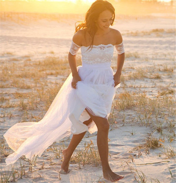 Vintage Bohemian Backless Long Forest Gypsy Bridal Gown
