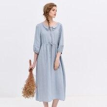 original design vintage linen 7 loose lacing one-piece dress