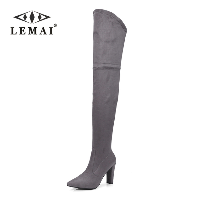 LEMAI Sexy Spool High Heels Over the Knee Boots red Shoes Woman Platform Shoes Knight Boots Slim Long Party Winter Boots SIZE:43