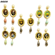 Luxury Vintage Drop Earrings Famous European Painting Van Gogh Mona Lisa Women Jewelry Baroque Pearl Classic Beads Bridal Brinco