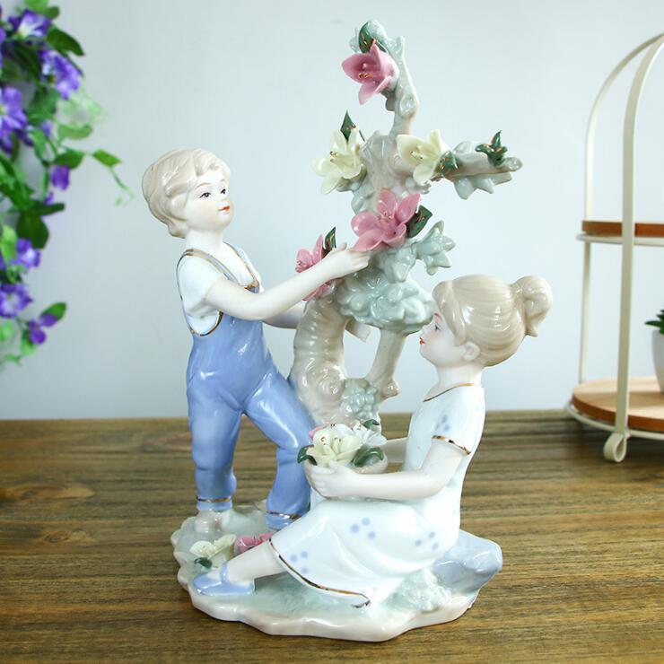 Personnages en céramique européens ornements cadeaux de mariage pour envoyer des ornements d'enfant artisanat cadeaux de fête des mères cadeaux de mariage 05112 - 3