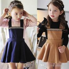 Princess Kids Girls Crystal Halter Dress Sweet Kids Ruffles Wool Blend Winter Spring Dress Brown and Blue Color Casual Dress