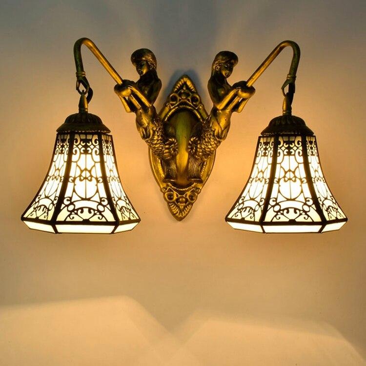 Тиффани барокко старинные витражи Стекло гладить Русалка бра внутреннего освещения прикроватные лампы бра для дома AC 110 В /220 В E27