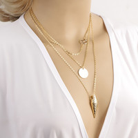Sumer Style Multilayer Three Pendants Gold Necklace Chain Necklace CX262