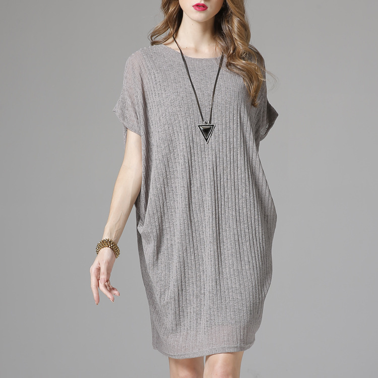 [EAM] 2018 summer new fashion o-neck short batwing sleeve hollow out striped casual loose women two pieces knitted dress RA333