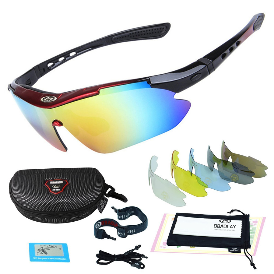 OBAOLAY Polarized UV400 Cycling Sunglasses Bicycle Bike Eyewear Goggle Riding Outdoor Sports Fishing Glasses 5 Lens queshark uv400 polarized fishing sunglasses glasses cycling bike bicycle motorcycle driving hunting hiking sport fishing eyewear