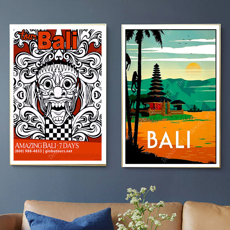 Travel To Indonesia Bali Summer Holiday Canvas Paintings Vintage Wall Kraft Posters Coated Wall Stickers Home Decor Picture Gift