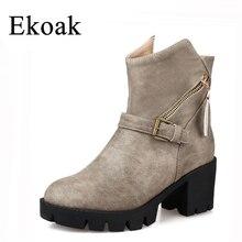 Ekoak/Для женщин Сапоги и ботинки для девочек новый Мода 2017 г. Осенние женские ботильоны Классическая обувь на высоком каблуке женские сапоги на платформе ковбойские ботинки L35