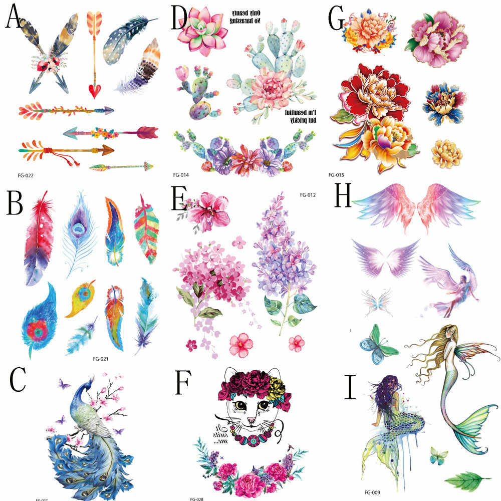 Planet Temporary Tattoo Anti Perspiration Flower Colored wings Forest Waterproof Fake Tattoo Stickers  Women Ear arm Tatoos  S11