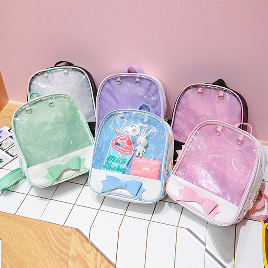 Clear Transparent Backpacks Women Harajuku Bow-knot Itabags Bags School Bags for Teenager Girls Designer Ita Bag Bookbag Bolsa Сумка