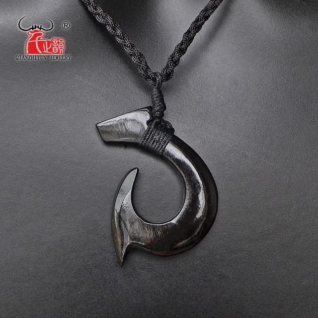 0f45b433c59c7 1PC Hawaii Surfer Jewelry Handmade Carved buffalo horn Fish Hook Pendant  New Zealand Maori Tribal Choker WoMen's Men's Necklace
