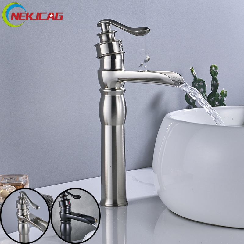Hot Sell Bathroom Sink Faucet Basin Faucet Black Color Hot and Cold Water Faucet Single Handle Mixer Taps crystal white basin vessel sink faucet single lever countertop bathroom mixer taps with hot and cold water