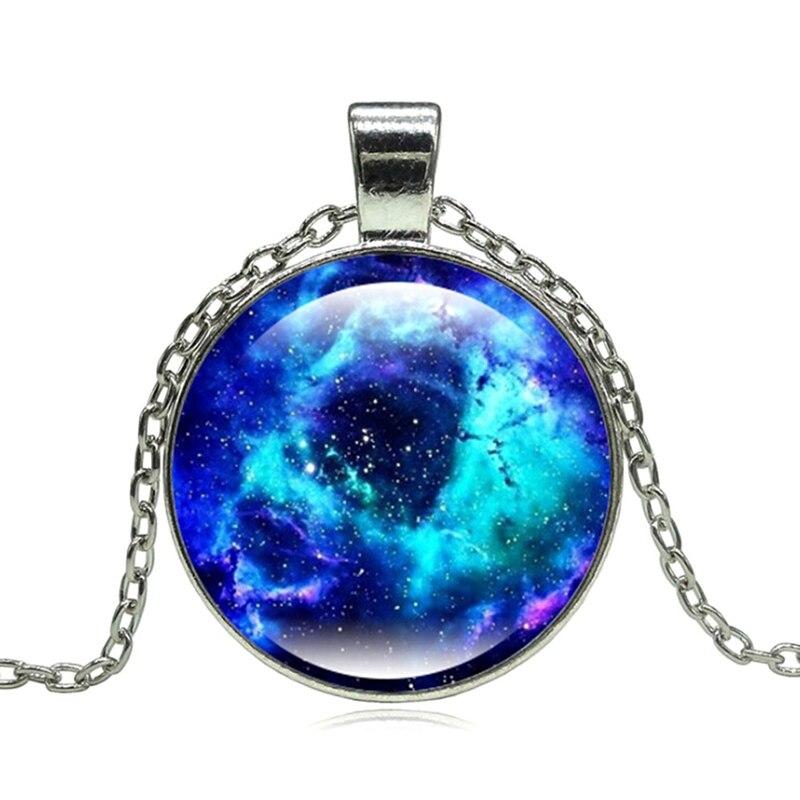 13 Style 2018 New Fashion Galaxy Necklaces Nebula Space Glass Cabochon Pendants Brand Jewelry Women Men Best Friend Ship Gift