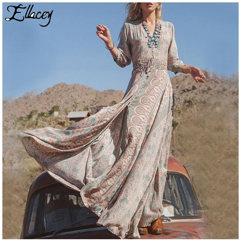 ab6311312204 New 2018 Summer Beach Dress Bohemian Print V-neck Maxi Dress Three Quarter  Split Floor-Length Long Chiffon Dress Vestidos
