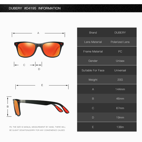 DUBERY Mens Polarized Driving Sunglasses Women Luxury Brand Designer Outdoor Sports Finishing Sun Glasses Square Mirror UV400 Multan