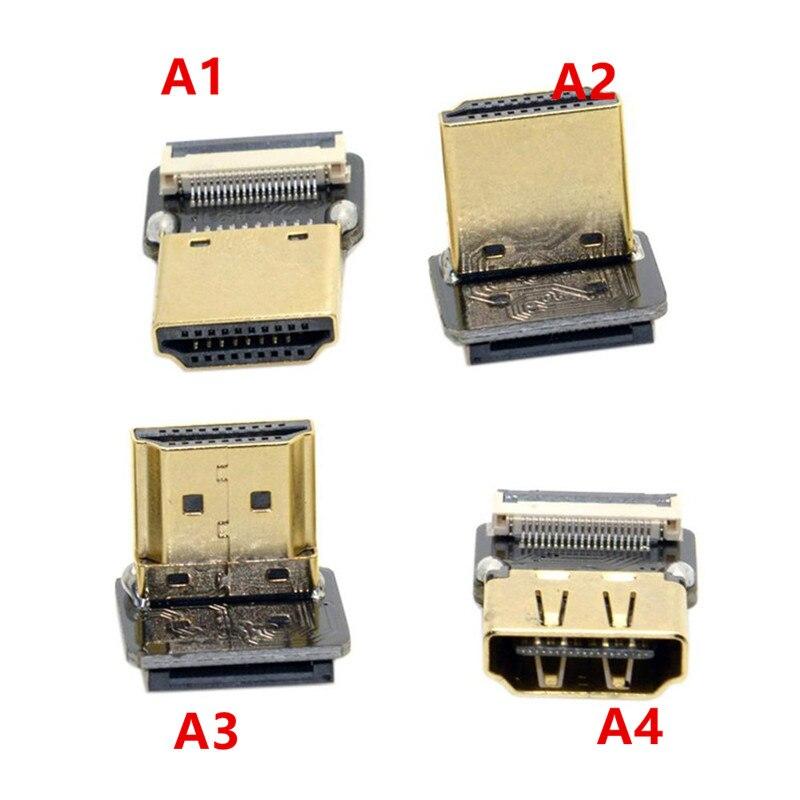 FPV Micro HDMI Mini HDMI 90 degree Adapter 5cm-100cm FPC Ribbon Flat HDMI Cable Pitch 20pin Plug Connector
