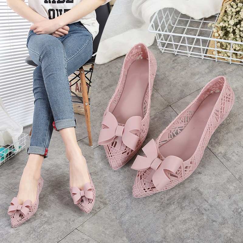 EOEODOIT Jelly Flats Women 2019 Summer Rain Shoes Swim Pool Pointed Toe Breathable Flat Heel Beach Sand Shoes Hollow Out Sandals